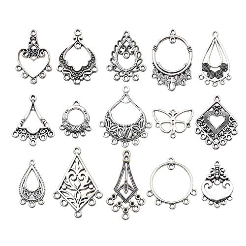 60pcs Antique Tibetan Silver Earring Chandelier Earring Charms for Jewelry Making Kit for Earring Drop and Charm Pendant Assorted Pack (60 Pcs) ()