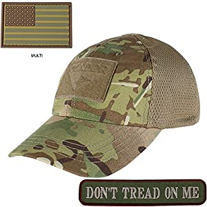Condor Mesh Tactical Cap Multicam with PVC U.S. Flag TWO Morale Patch Bundle