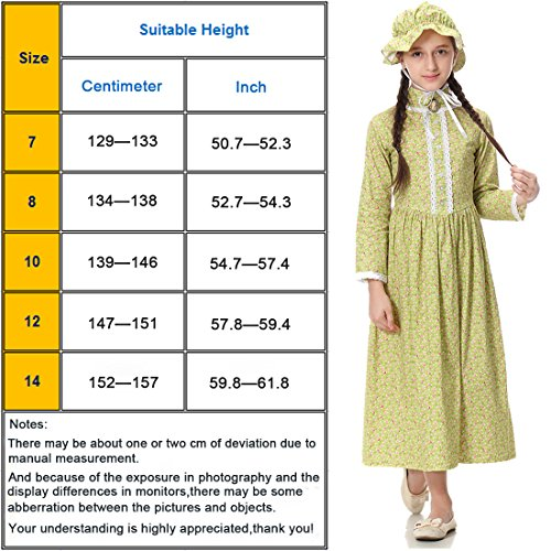 Pioneer Girl Costume Colonial Prairie Dress for Kids 100% Cotton,US14 by KOGOGO (Image #7)