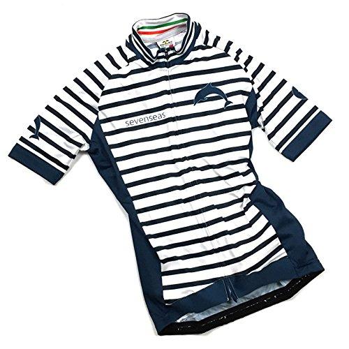 サンダー明るいぴかぴかセブンイタリア Sevenseas Stripe レディース Jersey ホワイト/ネイビー M(78S-SEL-JY-WN-M)