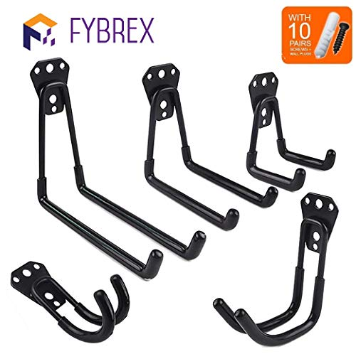 - 5pcs Heavy Duty Wall Hooks for Garage Storage System Kitchen Organizer, Multi-Size Clip Hook Hanger Holder for Hanging Ladder Weed Eater Extension Cord Shovel Hose Garden Tool, Mount Screws Included
