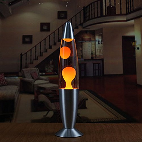 SODIAL US Plug LED 110v Metal Base Lava Lamp Wax Volcano Style Night Light Jellyfish Nightlight Glare American plug(Orange)