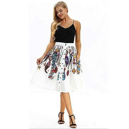 Vestido, Impresión Digital Falda de Mujer Botón Salvaje Casual ...
