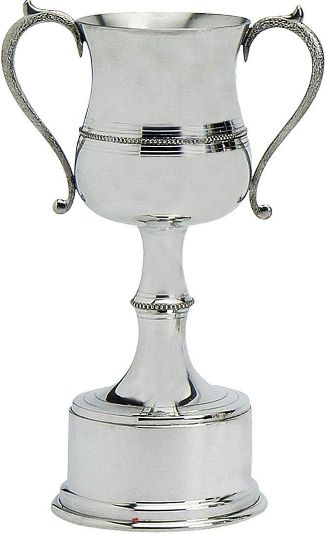 Pewter Sporting Trophy 14inch Estilo de Cuentas Pulidas Fútbol, Rugby, Remo