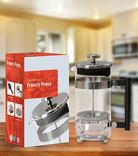 French Coffee Press (Chrome) - 34 oz Espresso and Tea Maker with Triple Filters, Stainless Steel Plunger and Heat Resistant Glass by Utopia Kitchen (Image #1)