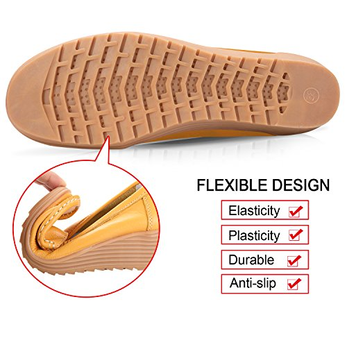 On Casual Women's Shoes Flat Slippers Labato Yellow Slip Driving Loafers Leather wXUagW4qAH