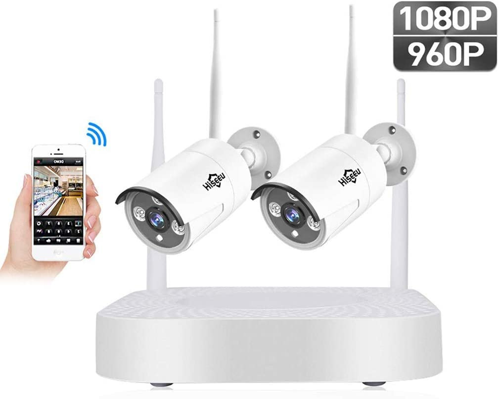 Sistema de cámaras de circuito cerrado de televisión inalámbrico HD 1080P 2 canales NVR, grabadora con 2,0 megapíxeles, Wifi de la cámara de seguridad CCTV Inicio Versión mejorada, visión nocturna, P2