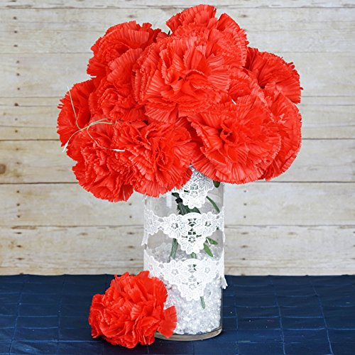 BalsaCircle 36 Red Silk Extra Large Carnations Flowers - 4 bushes - Artificial Flowers Wedding Party Centerpieces (Carnation Wedding Centerpieces)