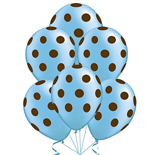 Polka Dot Balloons 11in Premium Baby Blue with