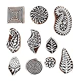 PARIJAT HANDICRAFT Mughal Design Wooden Printing Stamp Block (Set of 10) Hand-Carved for Saree Border Making Pottery Crafts Textile Printing