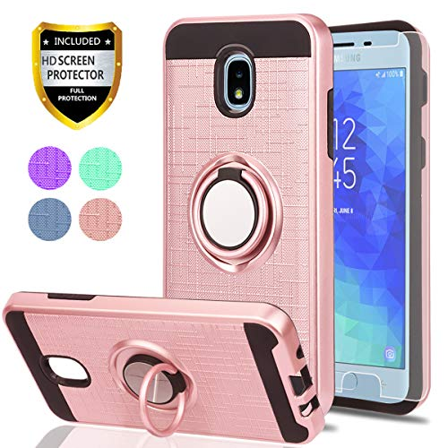 Galaxy J7 2018/J7 Aero/J7 Top/J7 Refine/J7 Eon/J7 Star/J7 Crown/J7 Aura/J6 2018 Case with HD Phone Screen Protector,Ymhxcy 360 Stand & Dual Layer Resistant Back Cover for Samsung J737-ZH Rose Gold