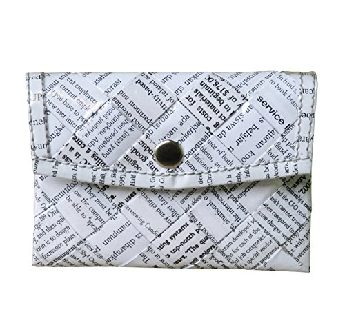 Snap button coin purse using office document paper - Free standard shipping - Upcycling by Milo