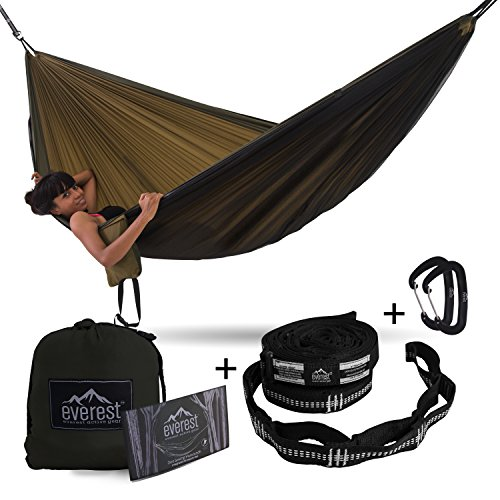 Grizzly Tree Step (Double Hammock - Everest | Camping & Outdoor Hammocks with Carabiners & Tree Saver Straps Ripstop Nylon Diamond Weave Lightweight for Backpacking Hiking | Khaki / Woodland)