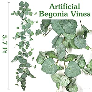2 Pack Artificial Hanging Leaves Vines - 5.7 Ft Artificial Begonia Leaves Vines Silk Plant Leaves Artificial Greenery Garland Plants Hanging for Indoor Outdoor Wedding Decor Gray Green Crowns Wreath 60