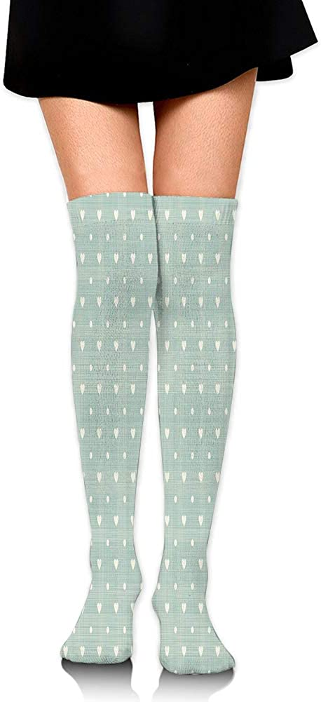 Over Knee High Socks,Little Hearts with Polka Dots Symmetrical Pattern in Retro Style Faded Colors,60CM