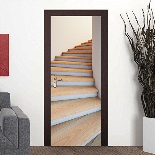 KELAI & craft art decor DIY 3D Door Wallpaper Murals Wall Stickers-Wonderful Spiral Staircase Door Stickers Self-adhesive Removable Door Mural Stickers Waterproof Vinyl Door Wall Stickers 30.3x78.7