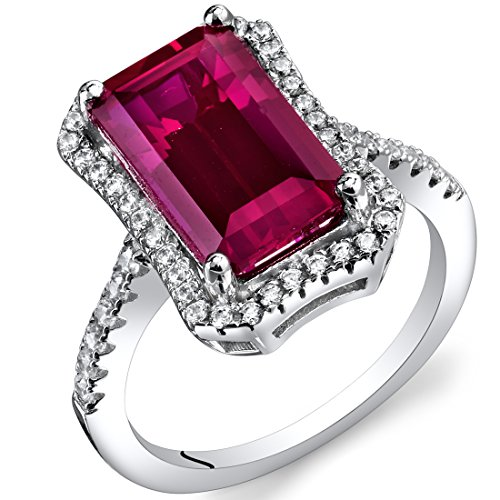Peora 4.25 Carat Created Ruby Octagon Ring Sterling Silver Size (Octagon Cut Ring)