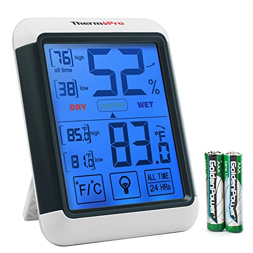 ThermoPro TP55 Digital Hygrometer Indoor Thermometer Humidity Gauge with Jumbo Touchscreen and Backlight Temperature Humidity ()