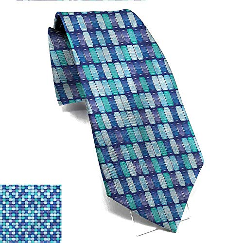 Striped tie Aqua,Mosaic Tiles Checkered Square Suitable for weddings weddings parties ()