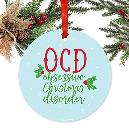 Andaz Press Funny Round Metal Christmas Ornament, OCD Obsessive Christmas Disorder, 1-Pack, Includes Ribbon and Gift Bag (Christmas Ornament Obsessive Disorder)