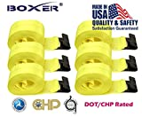 (6) Boxer DOT 4'' X 30' Winch Straps w/Flat Hook Flatbed Truck Trailer Tie Down 5400 LB US Made