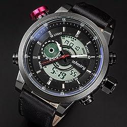 INFANTRY Mens Digital Quartz Wrist Watch Date Chronograph Alarm Sport Leather US