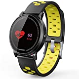 All-day Activity Tracking Smart Waterproof Wristband,YiMiky Fatigue Sleep Monitor Heart Rate Blood Oxygen Pressure Monitor 0.96 Inch Touch Screen Smart Message Call Watch Connect Android IOS(Yellow)