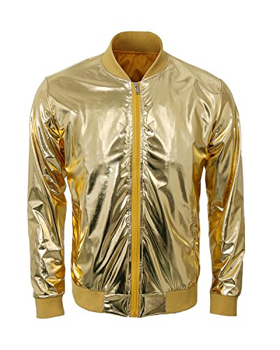 Flight Suit Costumes Men (Mens Metallic Nightclub Baseball Varsity Bomber Jacket Shiny Slim Zip Up Stage Performance Costume Suit Outfit (Large, Gold))