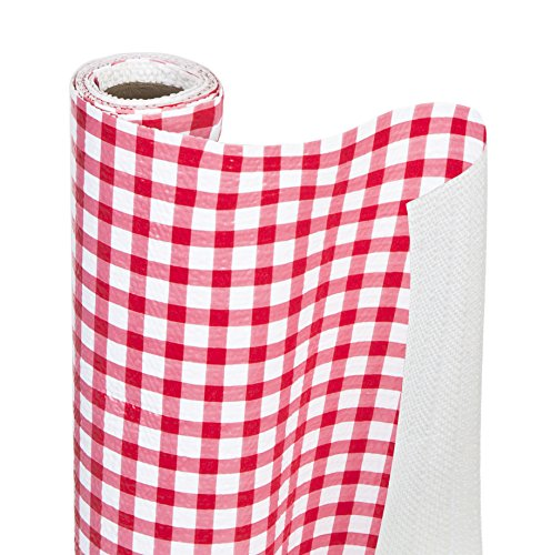 DAZZ 8742202 Ruby Red Gingham Grip Bonded Shelf Liner