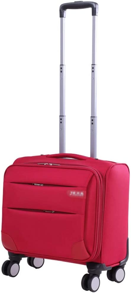 Travel Trolley Case Suitcase Spinner Hand Luggage Check-in Hold Luggage Expandable Strong Lightweight Flight Attendant Universal Wheel Oxford Cloth GAOFENG Color : Red, Size : 20 inches