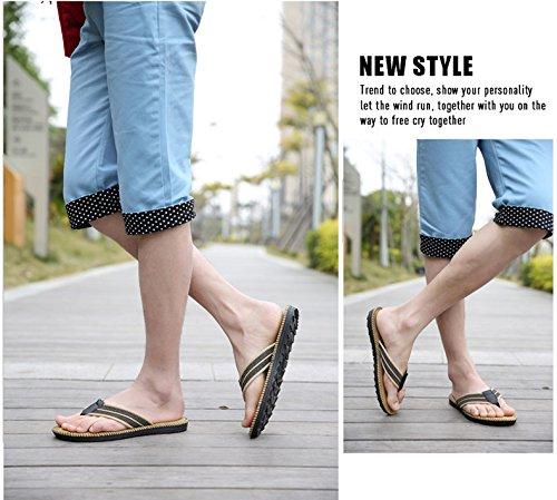 HomyWolf Mens Non-Slip Sandals Shock Proof Slippers Beach Flip-Flop Khaki atrjCOGsw7