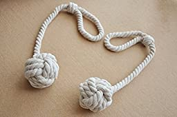 Shinywear 2 Pieces Retro Handmade Curtain Ropes Holdbacks Rural Knot Ball Cotton Cord Drapery Tiebacks Tie Band (White)
