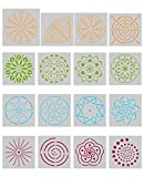 Biubee 16 Pcs Mandala Dotting Stencils- Different Patterns Mandala Dot Painting Templates for Stone Wall Art, Canvas, Wood Furniture Painting