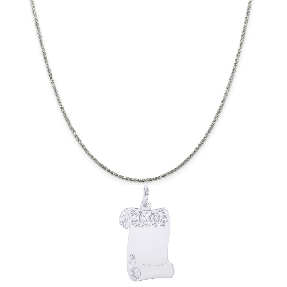 Rembrandt Charms Sterling Silver Blank Opened Diploma Charm on a 16 18 or 20 inch Rope Box or Curb Chain Necklace