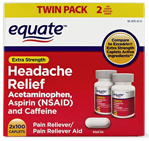Headache Relief Extra Strength Acetaminophen Pain Reliever/Pain Reliever Aid Coated Caplets, 100 count (Pack of ()