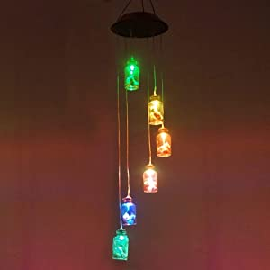 Color Changing Solar Light Wind Chimes (Lucky Star) Multi-color Lucky Star Hanging Windbell Light Mobile Hanging lamp for Patio Gardening Lighting Home Decoration