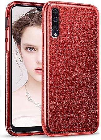 """Image ofCoovertify Funda Purpurina Brillante Red Rose Samsung A70, Carcasa roja Resistente de Gel Silicona con Brillo Rojo Rosa para Samsung Galaxy A70 (6,7"""")"""