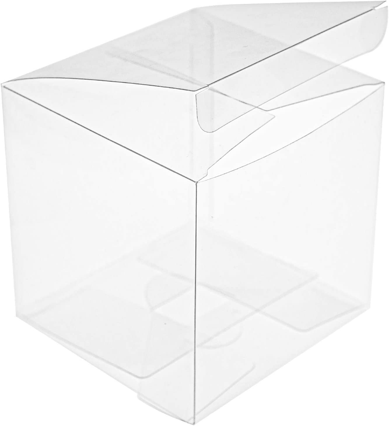 Yesland 35 PCS Candy Apple Box - 4 x 4 x 4 Inches - Clear Plastic Gift Boxes for Caramel Apples, Ornament, Treats & Party Favors for Wedding, Birthday Party or DIY Design - No Hole in the Top