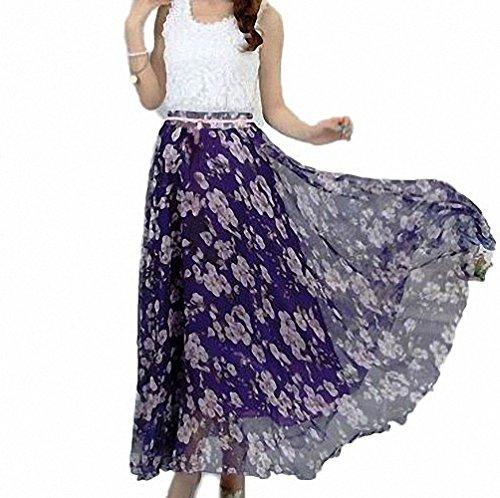 d19edc08c4 Afibi Women Full/Ankle Length Blending Maxi Chiffon Long Skirt Beach Skirt  (XX-