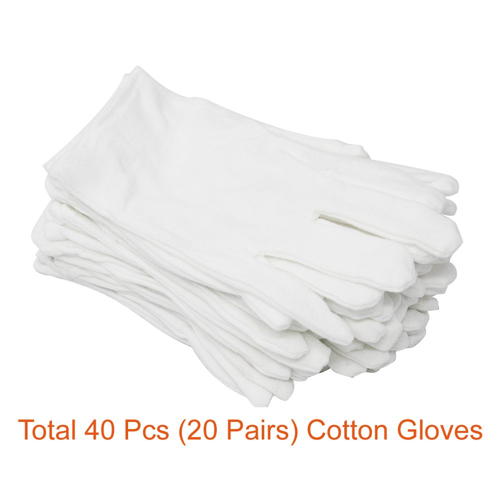 Paxcoo 20 Pairs Large White Cotton Gloves for Cosmetic Moisturizing and Coin Inspection by PAXCOO (Image #2)