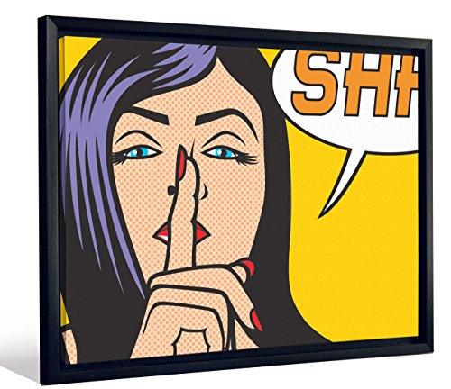 JP London Framed Vintage Comic Lichtenstein Cartoon Pop Art Gallery Wrap Heavyweight Canvas Art Wall Decor, 20.375