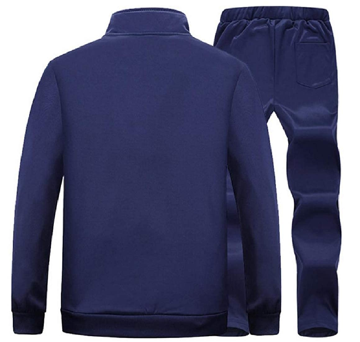 Sayah Mens Stand up Collar Luxury Athletic with Zip Sweatshirt and Skinny Long Pants