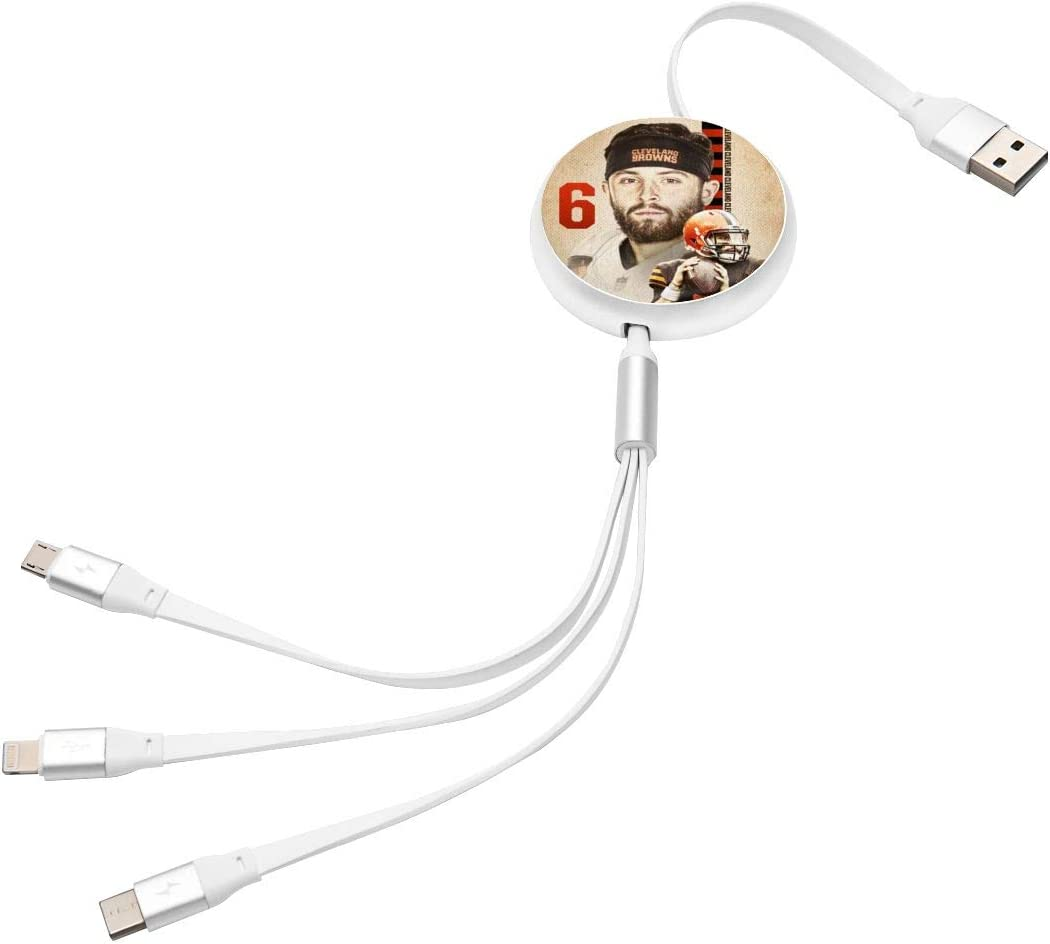 Micro USB Port Connectors for Cell Phone Tablets Baker Mayfield 3 in 1 Multiple USB Cable Charging Cord Adapter with Type-C