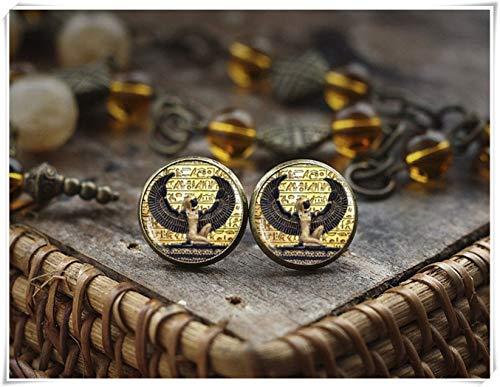 Goodnight cat Egyptian Goddess Earrings, Egyptian Stud Earrings, Ancient Egypt Earrings, Egypt Earrings, Dome Glass ()