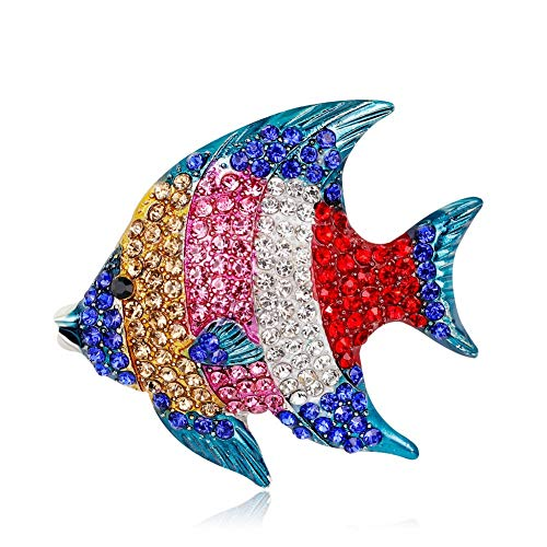 DDLKK Alloy Colorful Diamond Tropical Fish Brooch Pins Brooches and Pins for Women Rhinestone Plating Alloy Accessories for Women Fashion High Heel for Jacket Hijab Studs Plating Diamond