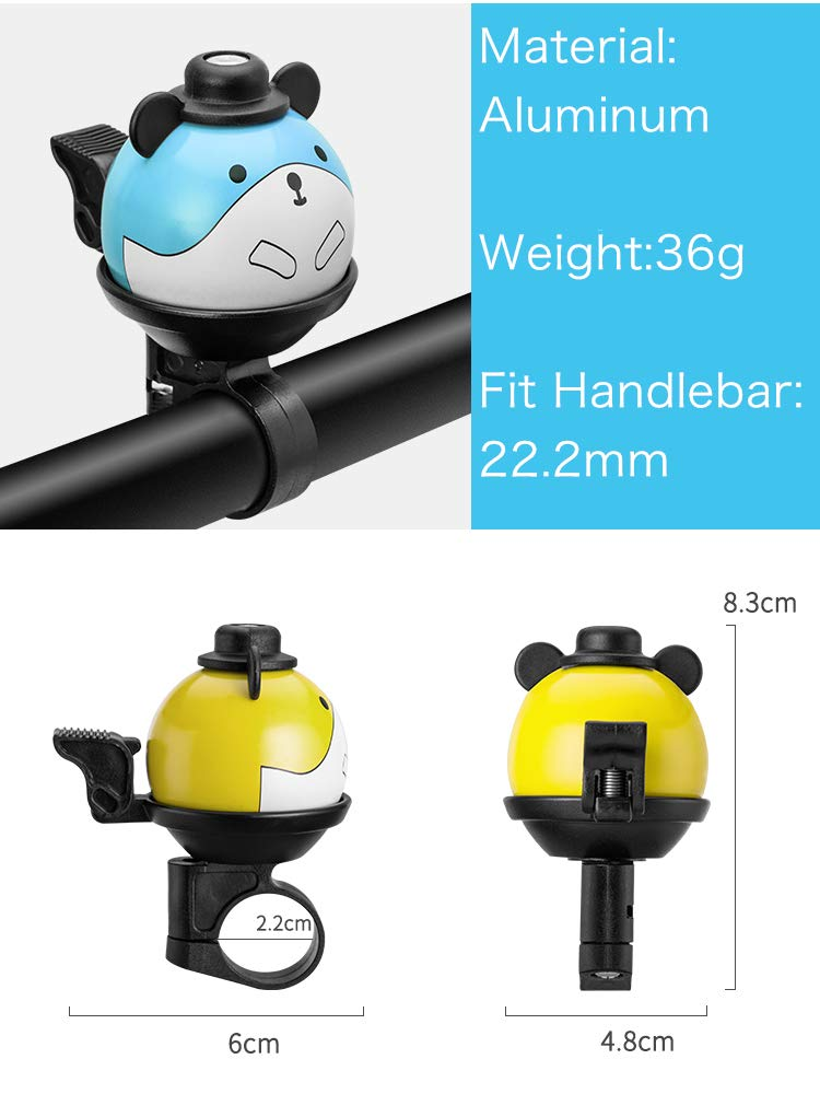 Childrens Bike Accessories Kids Bike Bell 360/° Rotatable Cartoon Cycling Bell for Girls Boys and Adult Loud Crisp Clear Sound Bicycle Handlebar Ring Horn