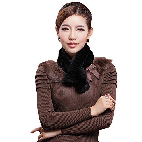 Mingxin real rabbit fur scarf concise slim style shawl warm collar shawl stole by MINGXINTECH