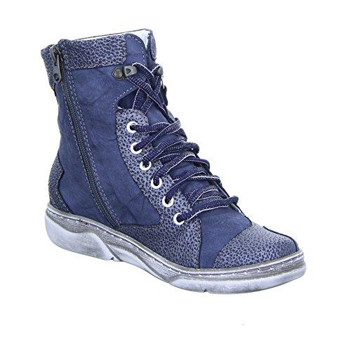 Kacper Damen Stiefelette 4-6424 Reißverschluss Warmfutter Leder Blau 197+493+194-BSF