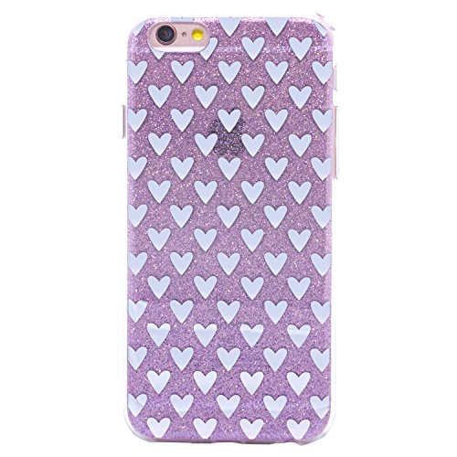 iPhone 6s Case TycoonYu Bling Shining Glitter Love Hearts Fashion TPU Protective Case for iPhone 6s (Purple Heart 4.7)
