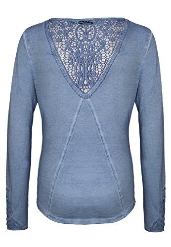 Pizzo Maglia Leggera con Urban a Lunghe Viscosa Rotondo con a Maniche Maglietta Azzurro Donna Maniche Lunghe Scollo da Surface in Medio Vintage Elegante z55xqpw